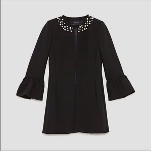 frock coat faux pearl-studded neckline Zara